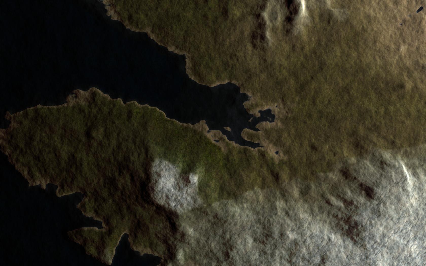 Terran planet viewed from sattelite