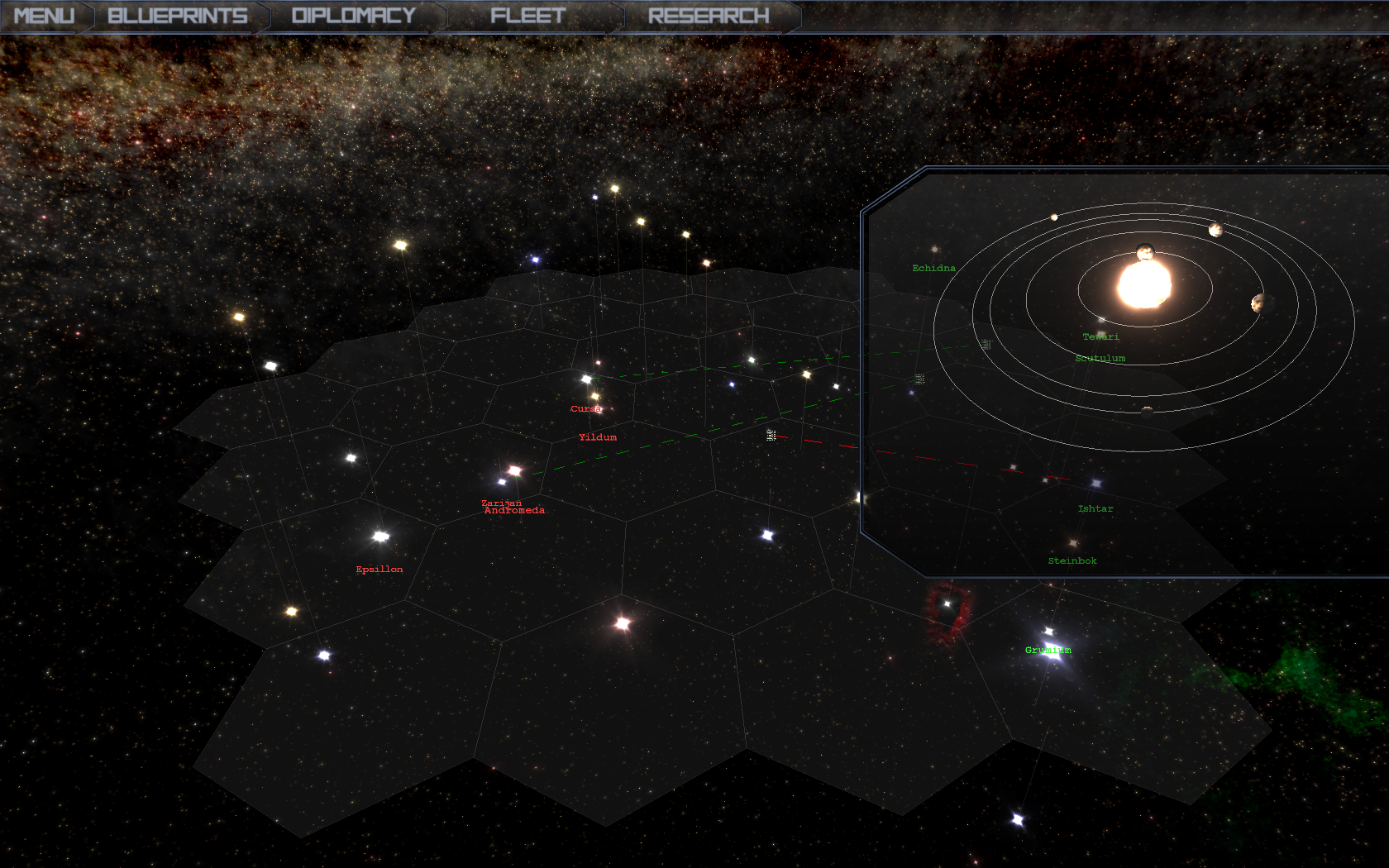 Galaxy map with the System window open