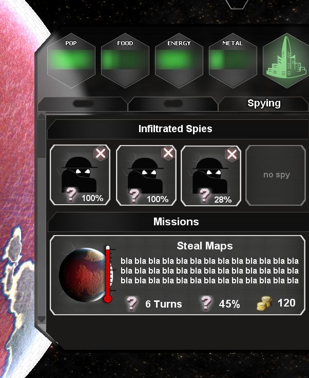 Mission selection mockup